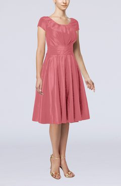 Magenta Simple A-line Scoop Short Sleeve Taffeta Knee Length Wedding Guest Dresses