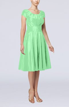 Mint Green Simple A-line Scoop Short Sleeve Taffeta Knee Length Wedding Guest Dresses