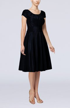 Navy Blue Simple A-line Scoop Short Sleeve Taffeta Knee Length Wedding Guest Dresses