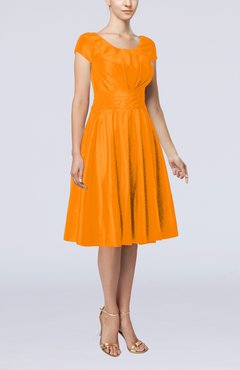 Orange Simple A-line Scoop Short Sleeve Taffeta Knee Length Wedding Guest Dresses