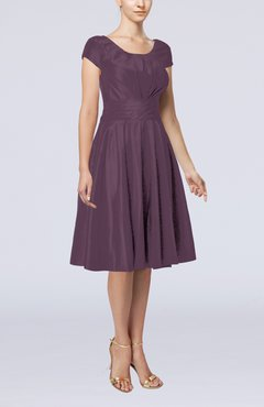 Plum Simple A-line Scoop Short Sleeve Taffeta Knee Length Wedding Guest Dresses