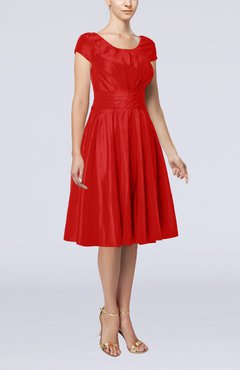 Red Simple A-line Scoop Short Sleeve Taffeta Knee Length Wedding Guest Dresses