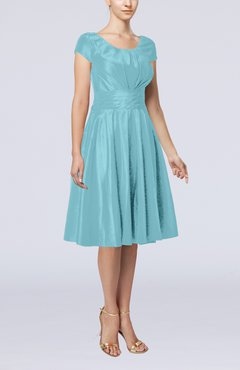 Turquoise Simple A-line Scoop Short Sleeve Taffeta Knee Length Wedding Guest Dresses