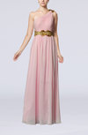 Elegant Sheath One Shoulder Chiffon Pleated Prom Dresses