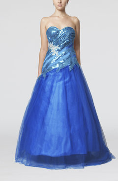 Royal Blue Fairytale A-line Sweetheart Sleeveless Floor Length Appliques Prom Dresses