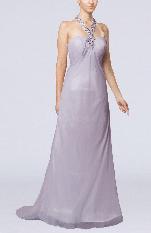 Lavender Simple Hall Empire Chiffon Sweep Train Paillette Bridal ...