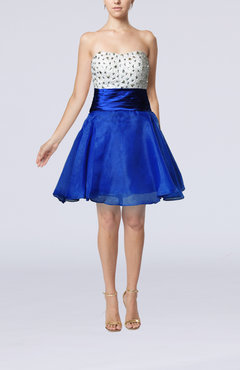 Royal Blue Cute Sweetheart Zipper Organza Beaded Homecoming Dresses