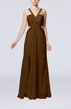 Brown Sexy Empire V-neck Backless Chiffon Floor Length Party Dresses