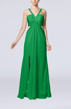 Green Sexy Empire V-neck Backless Chiffon Floor Length Party Dresses