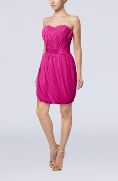 Hot Pink Modern Sheath Sweetheart Sleeveless Zipper Short Homecoming Dresses
