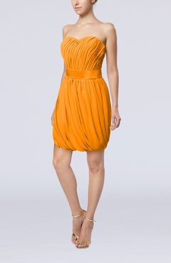 Orange Modern Sheath Sweetheart Sleeveless Zipper Short Homecoming Dresses