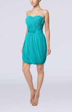Teal Modern Sheath Sweetheart Sleeveless Zipper Short Homecoming Dresses