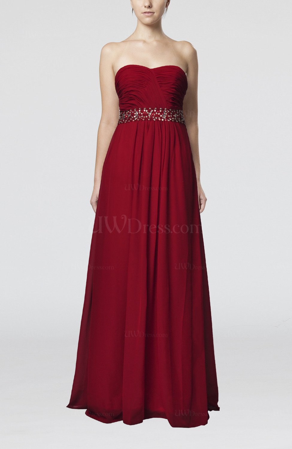 Dark red simple empire sweetheart sleeveless chiffon floor for Floor length dresses