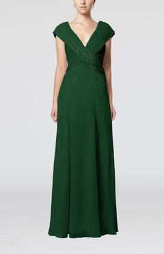 Hunter Green Elegant Sheath Sleeveless Chiffon Pleated Mother Of The Bride Dresses