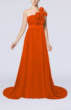 Tangerine Romantic A-line One Shoulder Zipper Flower Evening Dresses