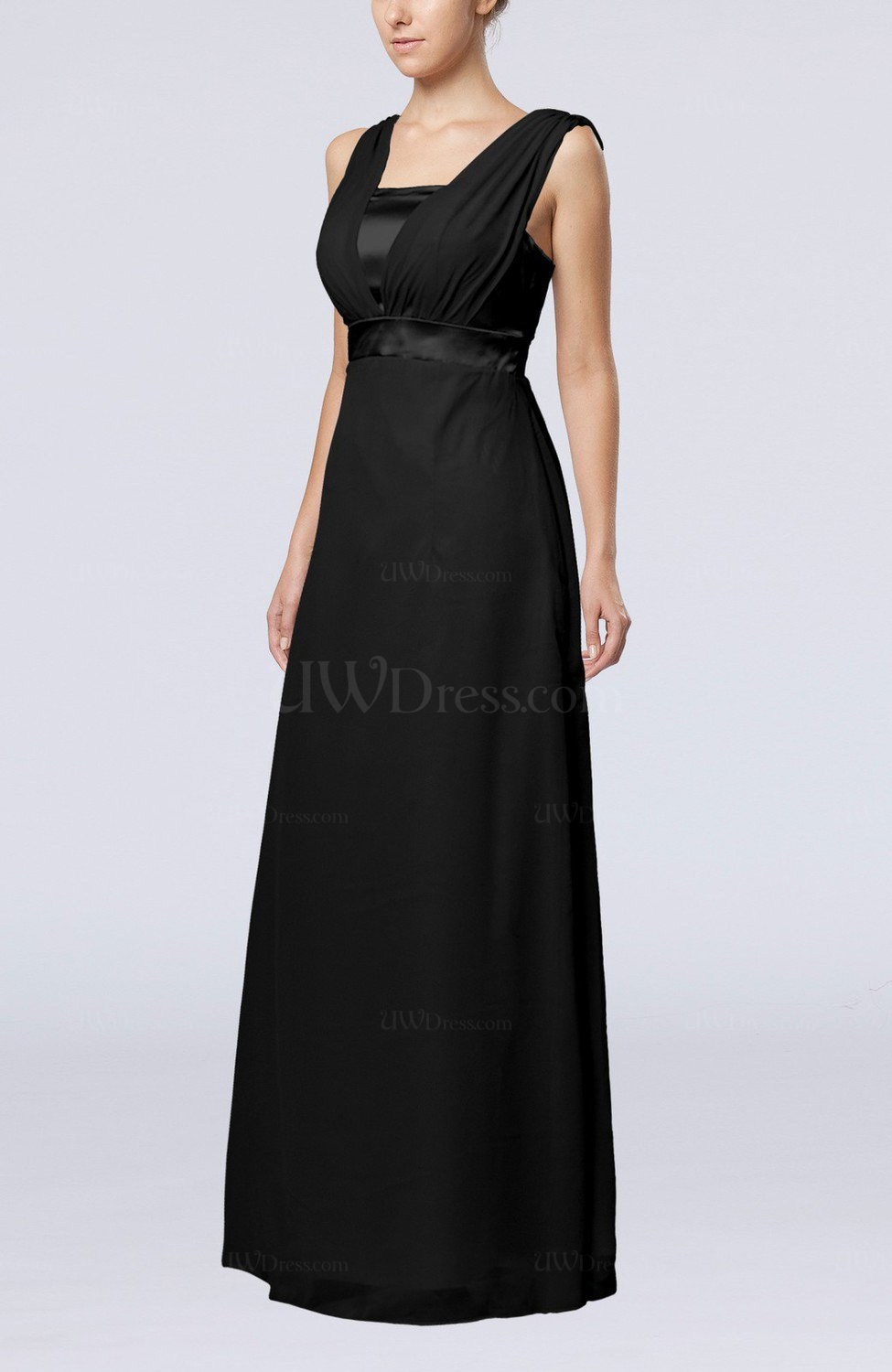 black elegant empire thick straps sleeveless chiffon floor length wedding guest dresses. Black Bedroom Furniture Sets. Home Design Ideas