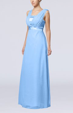 Light Blue Elegant Empire Thick Straps Sleeveless Chiffon Floor Length Wedding Guest Dresses