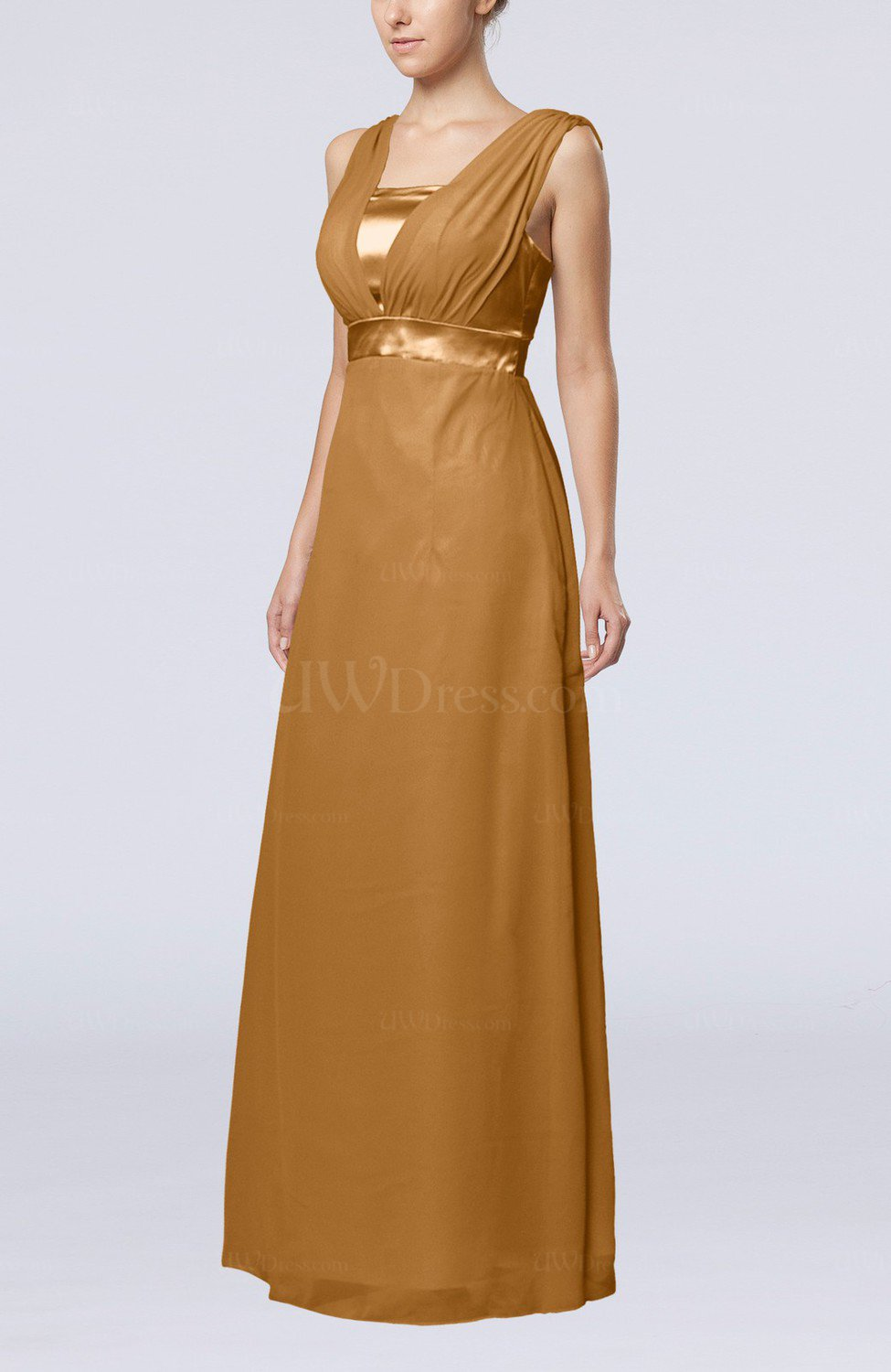 Light brown elegant empire thick straps sleeveless chiffon for Brown dresses for wedding guest