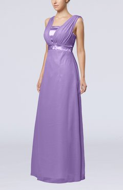 Lilac Elegant Empire Thick Straps Sleeveless Chiffon Floor Length Wedding Guest Dresses