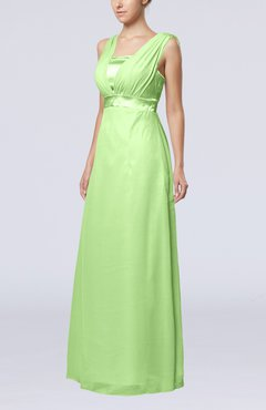 Sage Green Elegant Empire Thick Straps Sleeveless Chiffon Floor Length Wedding Guest Dresses