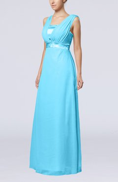 Turquoise Elegant Empire Thick Straps Sleeveless Chiffon Floor Length Wedding Guest Dresses