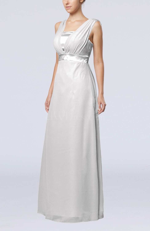 White elegant empire thick straps sleeveless chiffon floor for White dresses for wedding guests