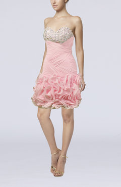 Light Pink Cute Garden Sheath Sweetheart Sleeveless Short Bridal Gowns