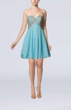 Light Blue Modern A-line Backless Short Pleated Prom Dresses
