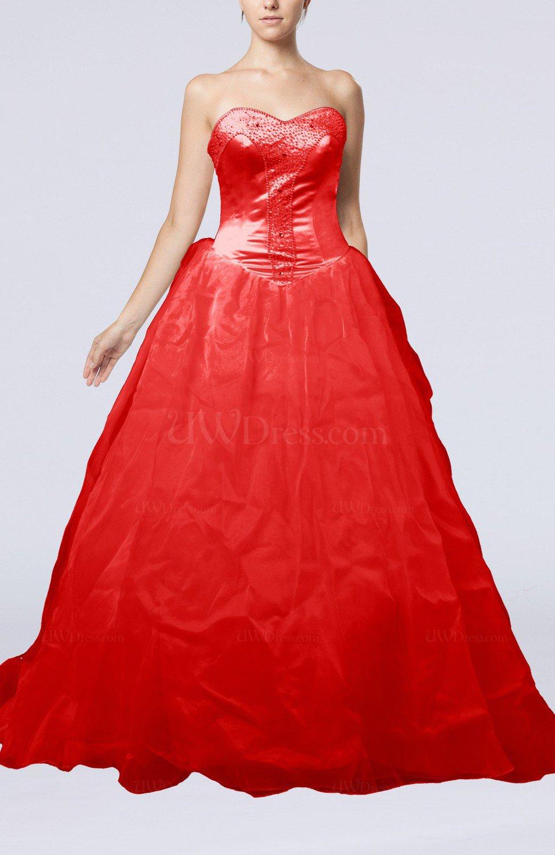 Red Fairytale Garden Princess Sleeveless Backless Chapel Train ...