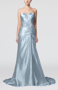 Ice Blue Elegant Church Sleeveless Elastic Woven Satin Court Train Ruching Bridal Gowns