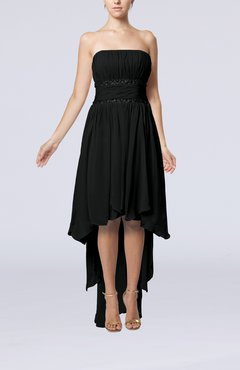 Black Plain A-line Strapless Sleeveless Zipper Chiffon Party Dresses