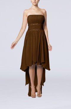 Brown Plain A-line Strapless Sleeveless Zipper Chiffon Party Dresses