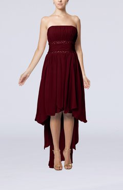 Burgundy Plain A-line Strapless Sleeveless Zipper Chiffon Party Dresses