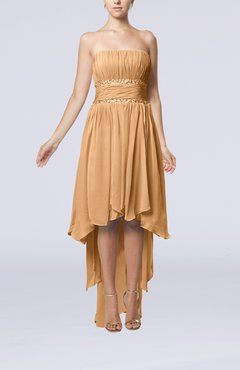 Burnt Orange Plain A-line Strapless Sleeveless Zipper Chiffon Party Dresses