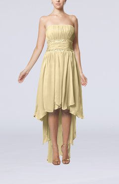 Champagne Plain A-line Strapless Sleeveless Zipper Chiffon Party Dresses