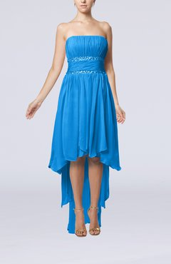 Cornflower Blue Plain A-line Strapless Sleeveless Zipper Chiffon Party Dresses