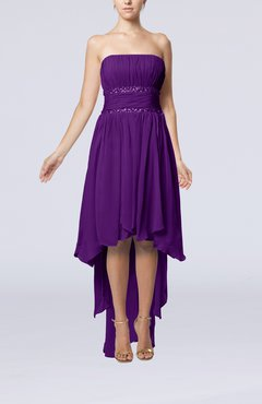 Dark Purple Plain A-line Strapless Sleeveless Zipper Chiffon Party Dresses