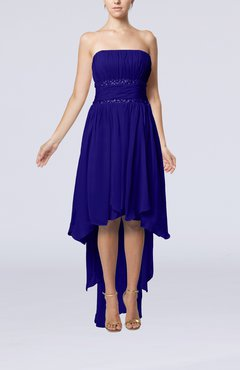 Electric Blue Plain A-line Strapless Sleeveless Zipper Chiffon Party Dresses