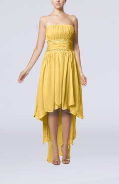 Gold Plain A-line Strapless Sleeveless Zipper Chiffon Party Dresses