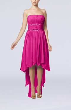 Hot Pink Plain A-line Strapless Sleeveless Zipper Chiffon Party Dresses