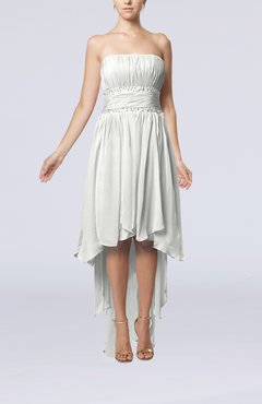 Off White Plain A-line Strapless Sleeveless Zipper Chiffon Party Dresses