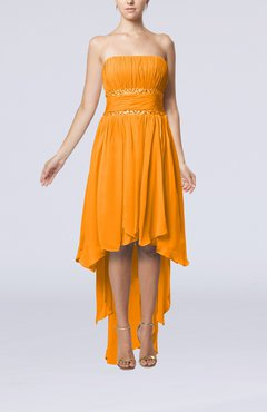 Orange Plain A-line Strapless Sleeveless Zipper Chiffon Party Dresses