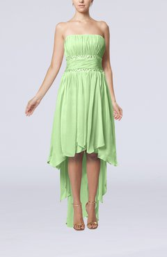 Pale Green Plain A-line Strapless Sleeveless Zipper Chiffon Party Dresses
