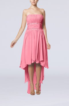 Pink Plain A-line Strapless Sleeveless Zipper Chiffon Party Dresses