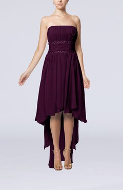 Plum Plain A-line Strapless Sleeveless Zipper Chiffon Party Dresses