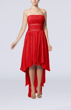 Red Plain A-line Strapless Sleeveless Zipper Chiffon Party Dresses
