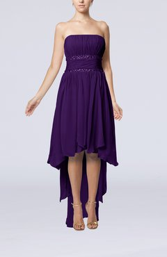 Royal Purple Plain A-line Strapless Sleeveless Zipper Chiffon Party Dresses