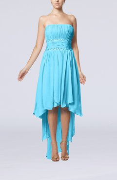 Turquoise Plain A-line Strapless Sleeveless Zipper Chiffon Party Dresses