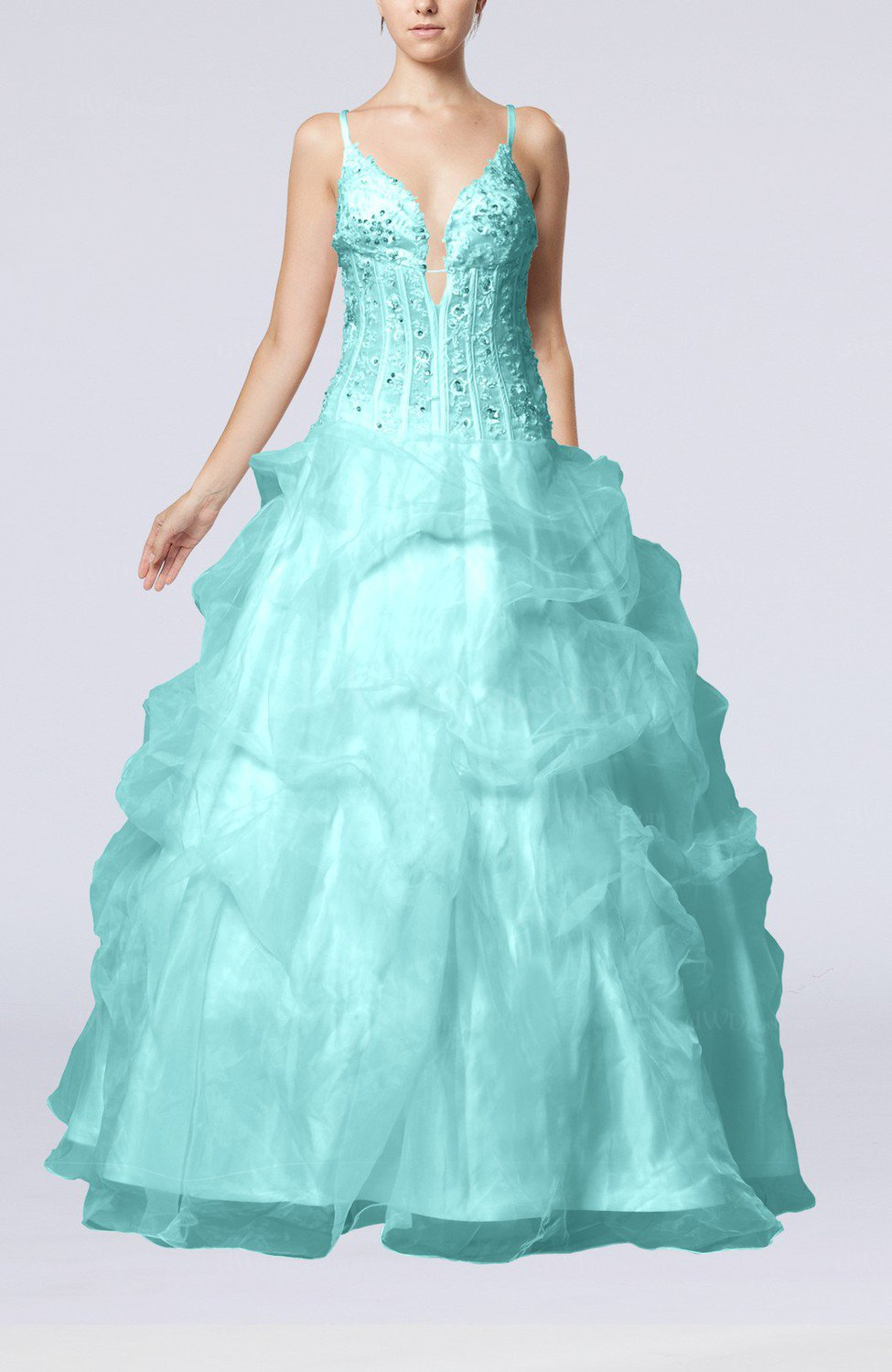 Turquoise Gorgeous Outdoor Spaghetti Sleeveless Backless Organza ...