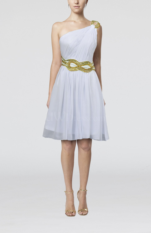 White elegant sleeveless zip up chiffon knee length sequin for Elegant dress for wedding guest